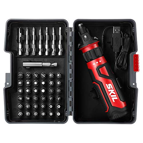 SKIL Rechargeable 4V Cordless Screwdriver with Circuit Sensor Technology, Includes 45pcs Bit Set, USB Charging Cable, Carrying Case - SD561204