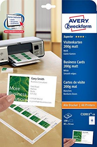 AVERY Zweckform C32011-10 Superior Visitenkarten, blanko (100 Stück, 200g, 85x54 mm, einseitig bedruckbar, matt weiß, absolut glatte Kanten, 10 Blatt) zum Selbstbedrucken auf allen Druckern