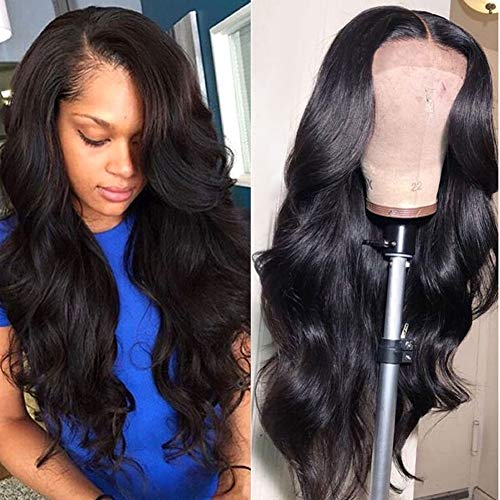 Wingirl 13×4 Lace Front Human Hair Wigs for Women Pre Plucked Hairline 180% Density Brazilian Body Wave Lace Front Wigs with Baby Hair Natural Black Color (16Inch)
