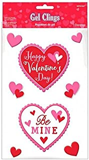 Blushing Valentines Day Small Gel Clings Party Decoration , Synthetic rubber (3-Pack)