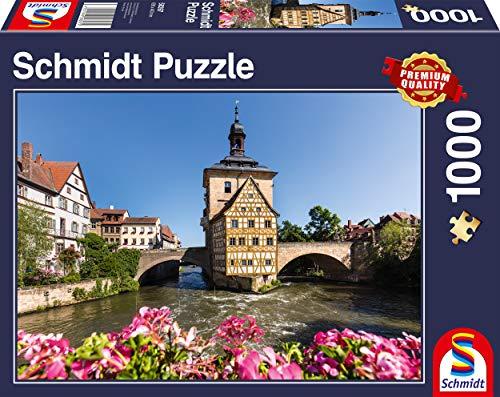Schmidt Spiele 58397 Bamberg, Regnitz und Altes Rathaus, 1.000 Teile Puzzle, Bunt