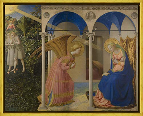Berkin Arts Fra Angelico Framed Giclee Print On Canvas-Famous Paintings Fine Art Poster-Reproduction Wall Decor(The Annunciation from from in Earth Main Panel) #XLK