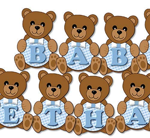 Personalized Teddy Bear Baby Shower or Birthday Party Decorations for Boy - Banner with Optional Cake Topper, Centerpiece, Sign, Favor Tags or Stickers, Thank You Cards - Handmade in USA - BCPCustom