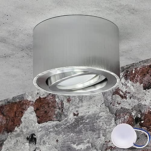 JVS Aufbauleuchte Aufbaustrahler Deckenleuchte Aufputz MILANO SMALL 5W LED Modul extra-flach Warmweiss 230V IP20 rund silber schwenkbar Strahler Deckenlampe Aufbau-lampe Downlight aus Aluminium