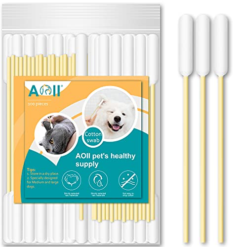 AOII Cotton Buds for Pet, 6 Inch Cotton Buds for Large Dog Ears, Ear Cleaner for Medium Dog and Cat, Lengthen Cotton Swabs for Cleaning Dogs Ears Make up Tool Household Cleaning swabs (100 Count)