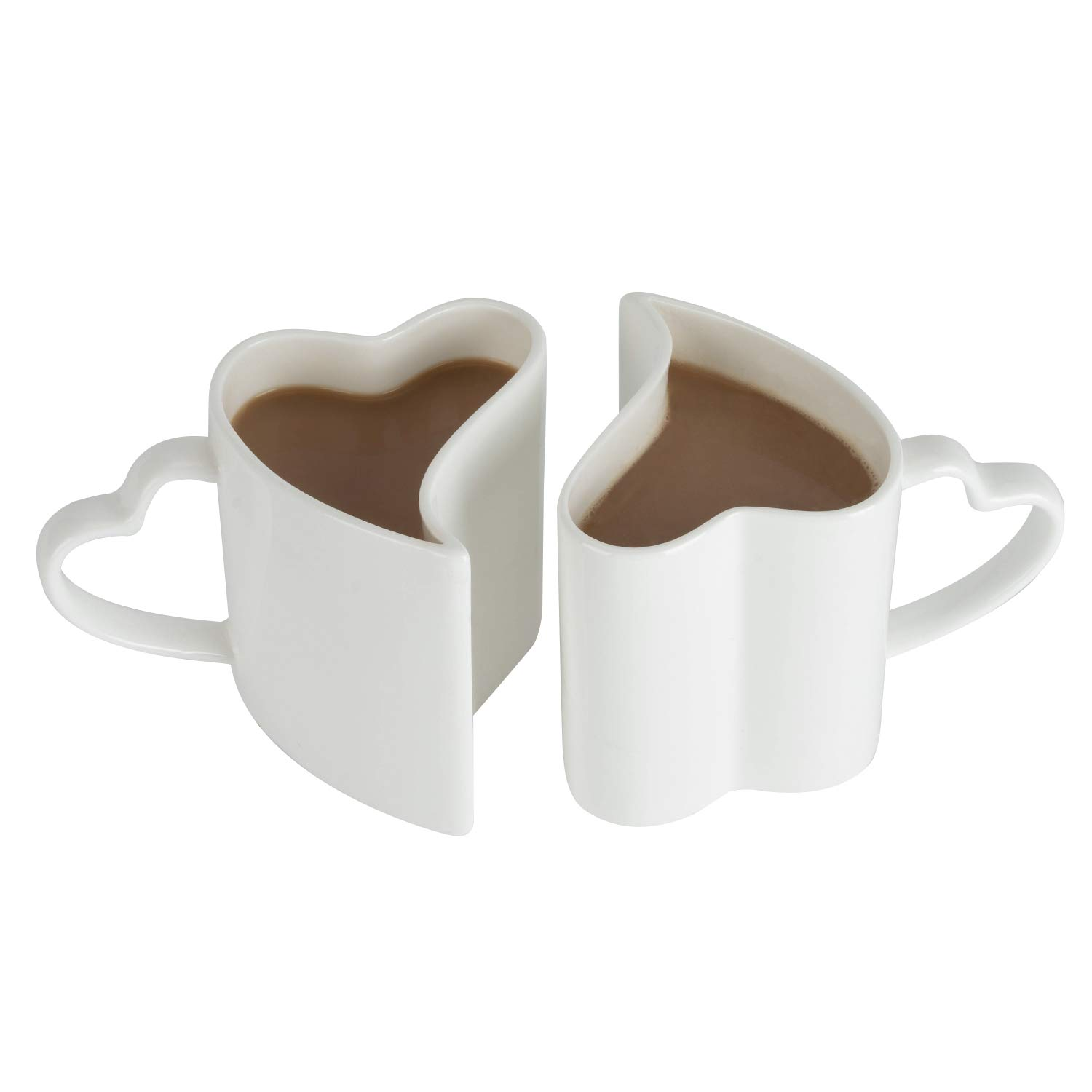 Couples Ceramic Coffee Cup Heart Shape His and Hers Ceramic