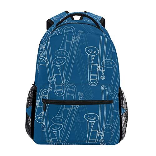 Rucksack Posaune Musical Print Reiserucksack Geschenk School College Casual Daypack Laptop Lightweight Durable Fashion Schule