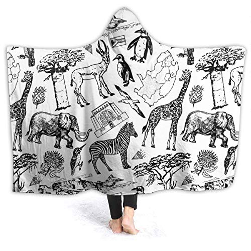 "IU POP-Street Best Fleece Hooded Blankets, Africa Doodle Vintage Pattern Decorative Throw Blankets, Anti-Static Super Cozy Unique Blanket fit Kids Recliner Car - 80"""" x60"