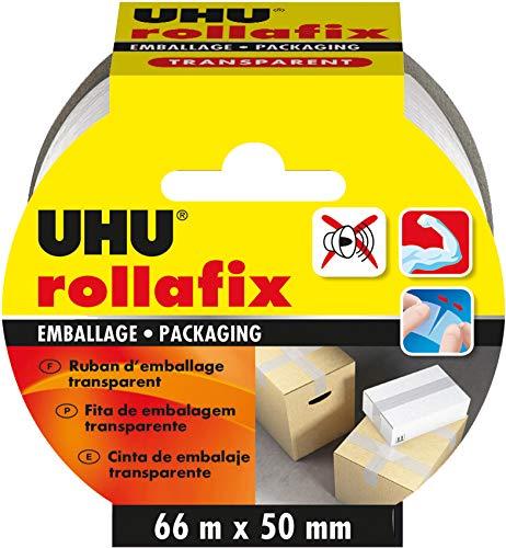 UHU Rollafix Ruban d'Emballage Transparent - 66 m de long x 50 mm de large