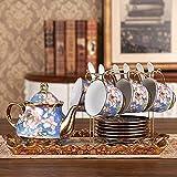 XiYou Juego de platillo de Taza de café de cerámica, Juego de té de Porcelana para el hogar con Bandeja y Tetera, Juego de Taza y platillo de té de Estilo clásico Europeo, Regalo