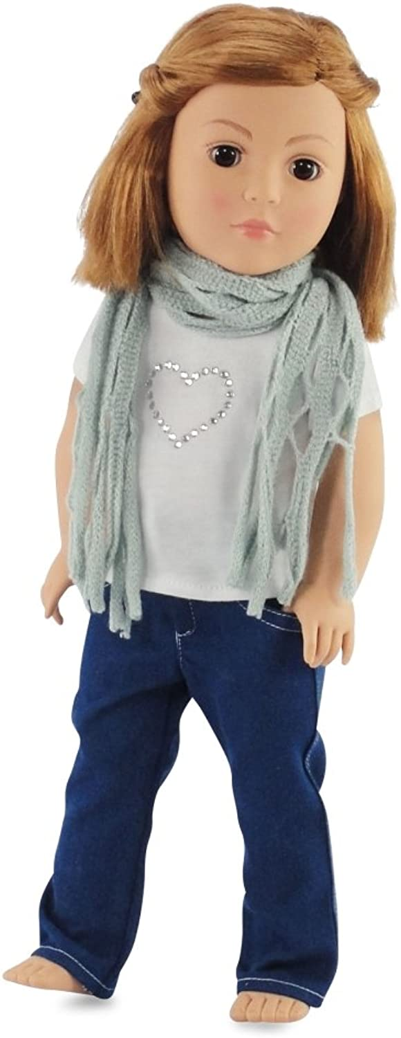 18 Inch Doll Clothes Skinny Jeans & Scarf   Outfit Fits 18  American Girl Dolls   Giftboxed