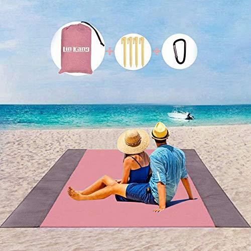LIN KANG Coperta da Spiaggia Coperta da Picnic Tappetino da Picnic Anti Sabbia 210 X 200 cm Portatile Impermeabile con 4 Picchetti Fixed per Spiaggia, Picnic,Campeggio e Altro (210 X 200cm, Rosa)
