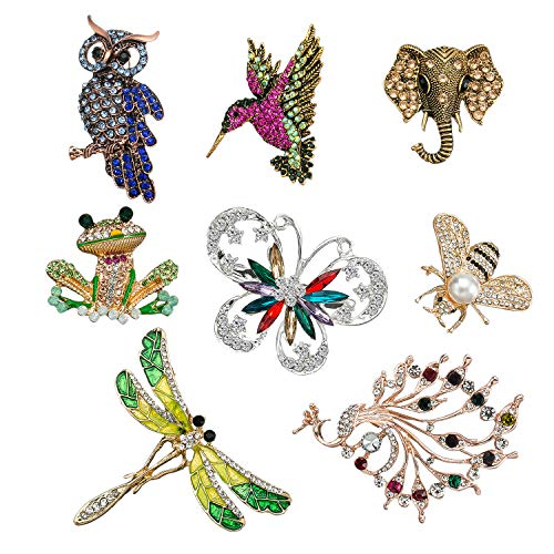 8 Juego broches para mujer con motivo de animales, broche de cristal de insectos con purpurina colorida para mujeres niña ropa (búho colibrí, elefante, rana, mariposa, abeja, libélula, pavo real)