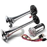 FARBIN Car Horn 12V 130db Super Loud Air Horn,Chrome Zinc Dual Trumpet Air
