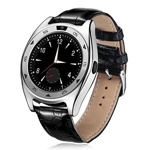 QSM Smart Watch Runde Bildschirm Übung Schritt Schlaf Herzfrequenz Blutdruck Blut Sauerstoff Test Foto Karte,Schwarz und SIL,A
