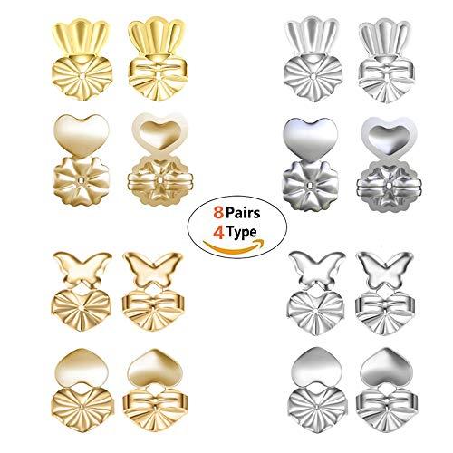 Geenber, Magic BAX, set di 8 paia di fermagli per orecchini regolabili e ipoallergenici, con chiusura di sicurezza, accessori per donne e ragazze (4 argentati, 4 dorati)