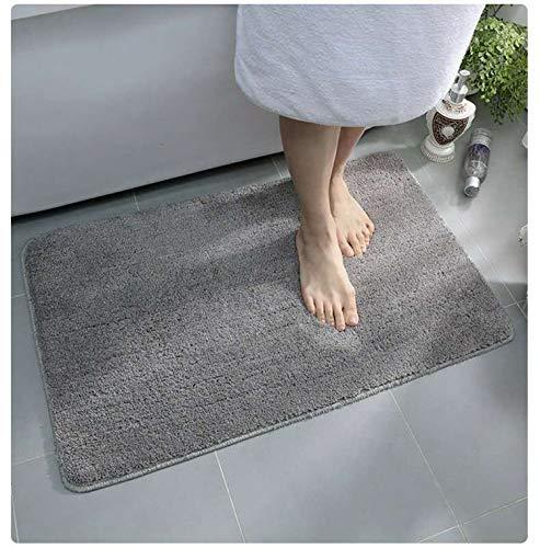 CHANG Tappeto da Bagno Assorbente Antiscivolo Tappetini per Il Bagno Morbido Tappetino Doccia Microfibra Pelo Lungo Lavabile in Lavatrice (60 x 40 cm, Grigio)