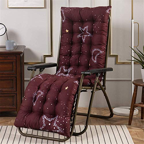 HEWEI 1 Pcs Chaise Longue Coussin Portable Jardin Patio Inclinable Relaxer Patio Transat Transat Salon Épais Recliner Pad Sièges en Plein Air Coussin De Transat (120 * 48 cm * 7 cm Stern Mond Rot)
