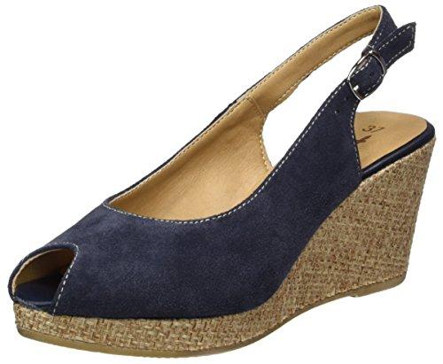 Tamaris Damen 29303 Offene Sandalen mit Keilabsatz, Blau (Navy/Rope 891), 40 EU
