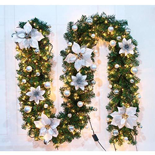 Weihnachtsgirlande mit Beleuchtung Weihnachtsdekoration Beleuchtete LED-Lichterketten Weihnachtstürdekoration Weihnachtsgirlande Tannengirlande Lichterketten