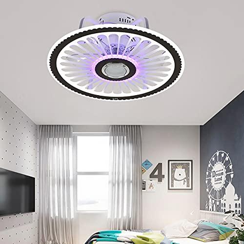 Dormitorio Ventilador Techo Con Luz Y Mando, 3 Velocidades Con Bluetooth LED Regulable Lamparas Ventilador De Techo Con Temporizador Moderno Silencioso Ventilador Techo Con Luz
