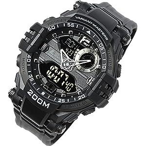[ラドウェザー] 腕時計 メンズ ミリタリーウォッチ 時計 男性用 メンズ デジタル アナログ デジアナ ウォッチ アナデジ タフ 迷彩柄 サバイバル サバゲー (ブラック)