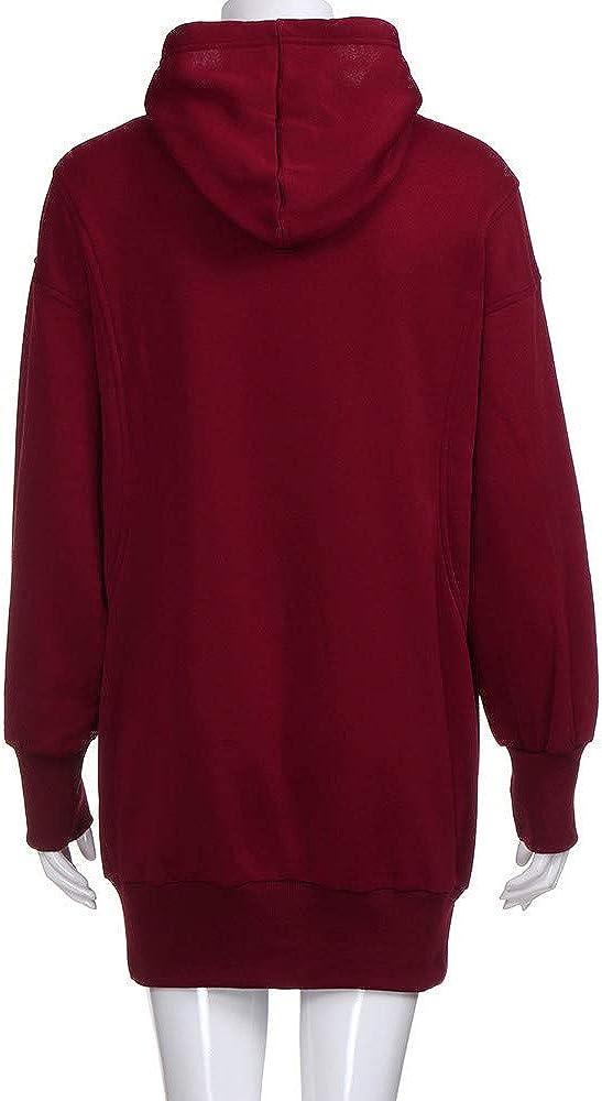 NPRADLA 2020 Herbst Damen Kapuzenpullover Elegant Frauen Hoodie Langarm Lange Sweatshirt Jumper Pullover Z1-rot