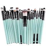 KOLIGHT - Juego de 20 brochas de maquillaje profesional para base de maquillaje, sombra de ojos, delineador de ojos, labios, pinceles de maquillaje (negro y verde)