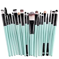 KOLIGHT 20 Pcs Pro Makeup Set Powder Foundation Eyeshadow Eyeliner Lip Cosmetic Brushes (Black+Green...