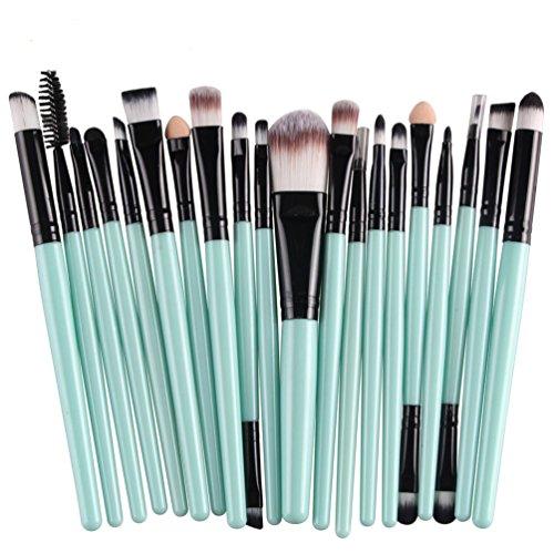 Kolight – Lot de 20 pinceaux de maquillage professionnels pour poudre, fond de teint, fard à paupières, eyeliner, rouge à lèvres (noir + vert)