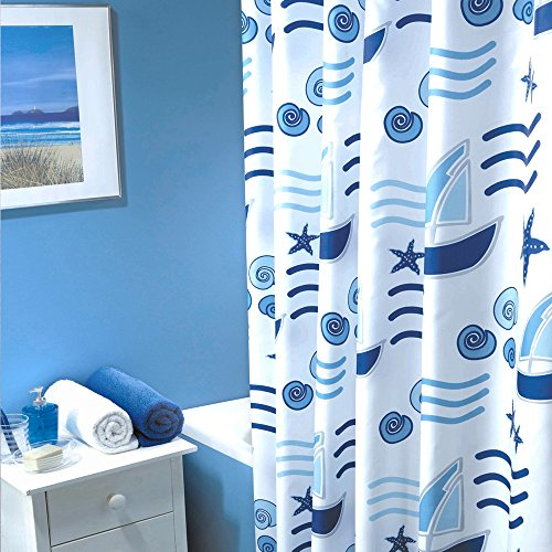 Textil Duschvorhang - Modell: Blue Sea - 180 cm x 200 cm Blau