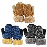 QKURT 3 Paare Kleinkind Stretch-Fäustlinge, Kinderhandschuh Verdickte Strickhandschuhe Winterhandschuhe Warme Handschuhe für 1-3 Jahre Junge Mädchen Draußen