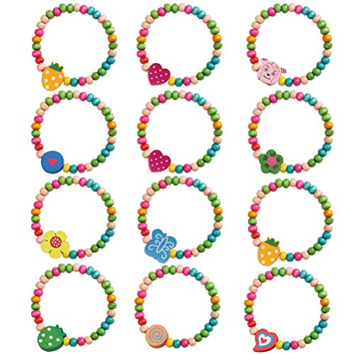 kuou 12 Pcs Girls Party Wooden Bracelets, Colourful Wooden Jewellery Girls...
