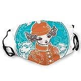 Usicapwear MultifunktionaleGesichtsschutzhülle, Little Girl with Hairstyle Imitating Horns and Sheep in Round Frame,BandanaBedruckteUnisexWaschbareWiederverwendbareGesichtsdekorationen