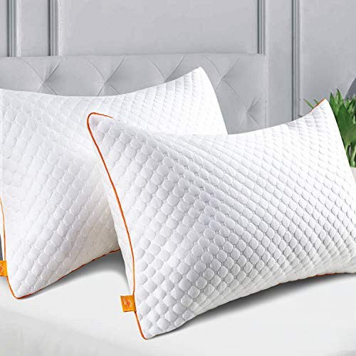 Maxzzz Bed Pillows of 2 Pack, Bamboo Pillows for Sleeping Queen Size Pillow Down Alternative Pillows with Removable Covers for Side & Back Sleeper(Queen, 20×30 Inch)