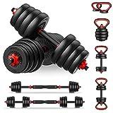 PINROYAL Adjustable Dumbbell Set 4 in 1, Weights Dumbbells Set 88lbs with Dumbbells, Kettlebells, Push Ups Set, Barbells Adjustable Weights for Man and Women