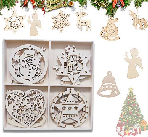 HIQE-FL 12 Piezas Adornos para árboles de Navidad,Ornamentos de Navidad,Adornos Colgantes de Madera,Madera Navidad Decoración,Colgantes de Madera para Navidad (D)