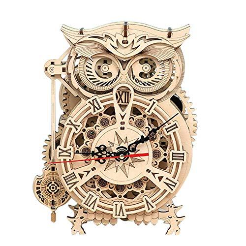 Puzzle 3D Owl Clock Kit Modello di Orologio Gufo Fai da Te 3D con Timer Costruzioni Legno Adulti con Movimento al Quarzo Orologio da Tavolo Unico per la Casa per Bambini e Donne