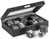 HOUNDSBAY Caja de Reloj Mariner Caso de exhibición | Lujo Interior de Fibra de Carbono con 10 Ranuras Reloj Grande para Guardar los Relojes Grandes de la Cara 15.5Wx4Hx9.5D Negro