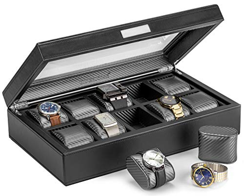HOUNDSBAY Mariner Oversize Watch Box Display Case   Luxury Carbon Fiber Pattern Interior with 10 Wide Watch Slots to Hold Big Face Watches (Black)