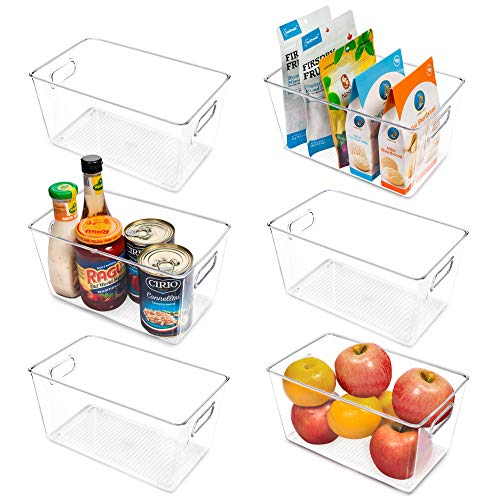 Vtopmart Clear Plastic Pantry Organizer Bins, 6 PCS Food Storage Bins with Handle for Refrigerator, Fridge, Cabinet, Kitchen, Countertops, Cupboard, Freezer Organization and Storage, BPA Free, Medium