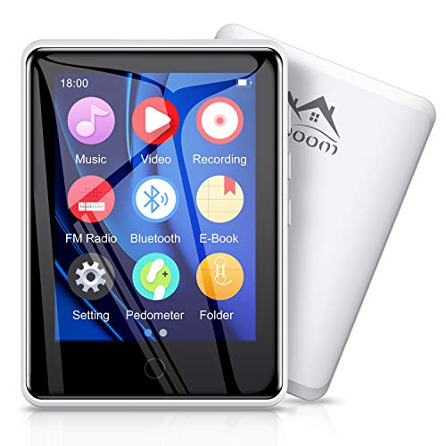 Timoom M6 Lettore MP3 32GB Bluetooth 5.0 Full Touch 2.8' Screen MP4 player per Sport Lossless HiFi Musicale Con Radio FM Contapassi Altoparlante Registrazion Supporto Fino a 128GB-Bianco