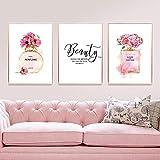 YDGG Poster Wandkunst Poster Parfum Beauty Flowers Leinwand