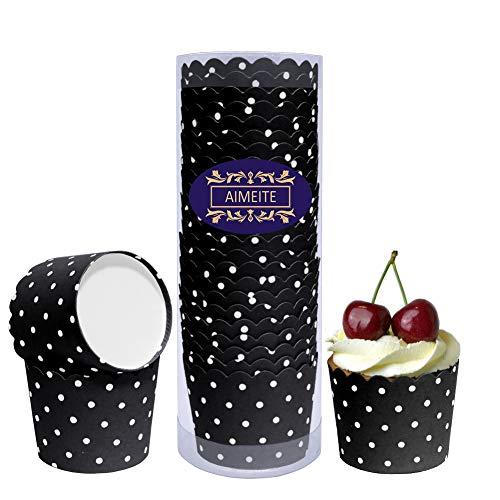 AIMEITE Cupcake Förmchen Backförmchen Papier Liners Cupcake Muffin Form Cupcake Wrappers Muffin Becher Papier Backformen Cupcake 24 Stück- Set (Schwarz)