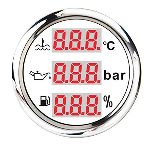 H HILABEE Motorrad Universal Digital Tankanzeige Kraftstoffanzeige + Öldruck + Wassertemperatur Anzeige Zusatzinstrument - Weiß