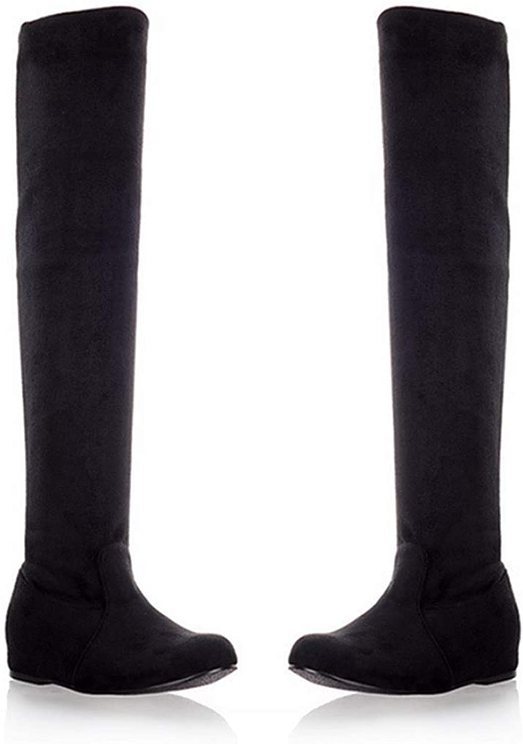 DOSOMI Women's Flock Thigh High Stretch Boots Round Toe Square Over Heel Knee High Boots