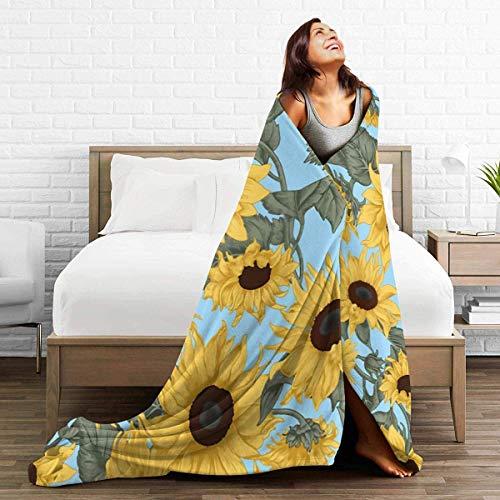 AEMAPE Throw Blanket Girasoles Estilo Vintage Alfombra para Exteriores Silla Colcha para Mujer Alfombra para Dormir Cojín Funda de Franela para Invierno 50 'x 60'