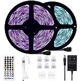 Anpro 2Stk Bluetooth LED Streifen, 10M LED Stripes mit Smart Bluetooth Kontroller und Fernbedienung Wasserdicht IP655
