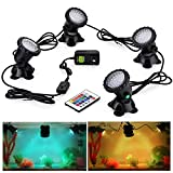 CPROSP Pond Lights 3.5W/Light Remote Control Submersible Lamp IP68 Waterproof Underwater A...