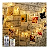 Jsdoin Guirlande lumineuse à LED avec pinces à photo 3 m 20 LED alimentée par piles pour Noël, fête, mariage, anniversaire, photo à suspendre, notes, illustration